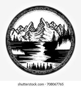 Mountains landscape tattoo and t-shirt design. Symbol tourism, travel, adventure