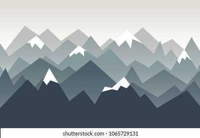 Mountains landscape. Triangle mountains ridges with snow on the tops. Nature background in geometric style.