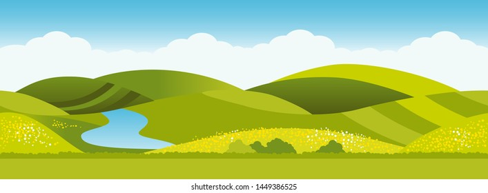 Mountains landscape vector for cartoon or video game. Horizontally tileable pattern.