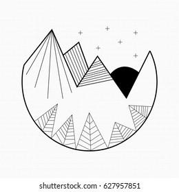 Mountains Line Art