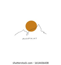 Mountains Line Art Print Abstract Modern Digital Painting Terracotta Color Abstraction Poster Contemporary Print Burnt Orange Vector Illustration Clipart