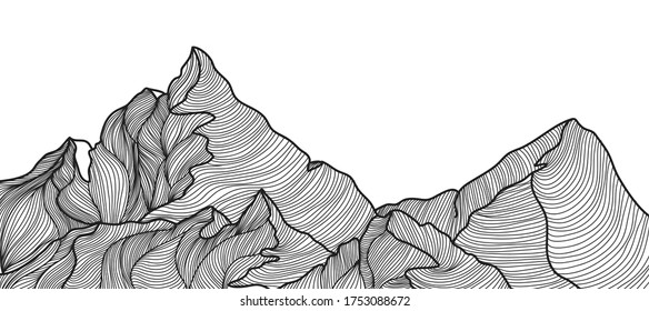 Mountains line arts vector. Abstract landscape background. Minimal wireframe monotone line wallpaper vector illustration.