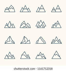Mountains line icons