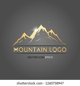 mountains logo golden. vector illustration. flat image of mountains. vector logo