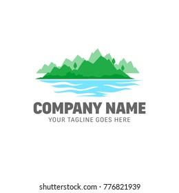 Mountains Logo - Sea, lake, nature vector template