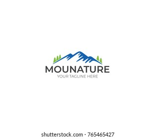 Mountains Logo Template. Nature and Forest Vector Design. Landscape Illustration