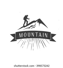 Mountains logo template. Vintage emblem with mountains. logotype/badge with ribbon. Vector illustration isolated on white background