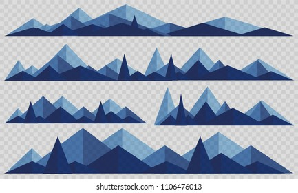Mountains low poly style set. Polygonal mountain ridges.
