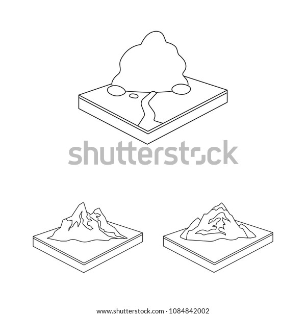 Mountains, massive outline icons in set collection for design. The surface of the earth vector isometric symbol stock web illustration.