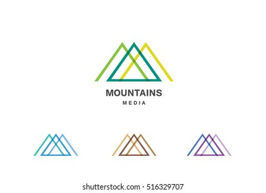 Mountains Media is a vector logo template set. Abstract sign for letter M and triangle shape logotype for business and creative company.