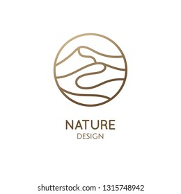 Mountains minimalistic logo. Round linear icon of landscape. Vector abstract emblem, simple badge for a travel, alternative medicine and ecology concept, spa, health, yoga Center.