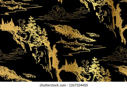 mountains  nature landscape view vector sketch illustration japanese chinese oriental line art