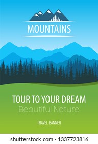 Mountains Nature, vector Travel Poster - Design of scenic colorful nature of Alps with copy area at header with logo and bottom of Placard layout with caption and descriptions.