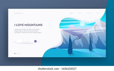 Mountains at Night or Morning Website Landing Page, Beautiful Highland Landscape, Tranquil Scenery Hill Peak with Moon or Sun, Blue Sky, Wild Nature Web Page. Cartoon Flat Vector Illustration, Banner