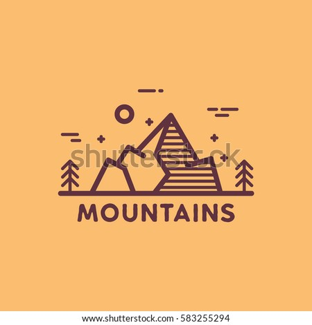 e9afe8ebb2 Mountains outdoors illustration on flat line stock vector royalty jpg  450x470 Flatline outdoors