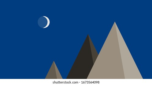 Mountains Panorame with Moon Abstract Random Placed Generative Art background illustration