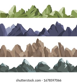 mountains pattern. Rock hills volcano climbing concept horizontal seamless landscape 2D games vector nature outdoors