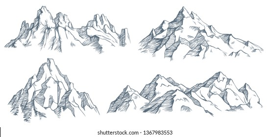 Mountains peak engraving. Vintage engraved sketch of valley with mountain landscape and old forest trees. Mountaineering engraving or mountains sketch. Isolated vector illustration symbols set