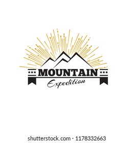 Mountains or peak logo emblem. Vector Outdoor activity symbol illustration.