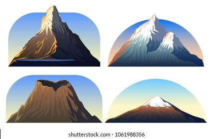 Mountains Peaks, landscape early in a daylight, big set. matterhorn, fuji or vesuvius, devils tower, everest. travel or camping, climbing. Outdoor hill tops