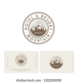 Mountains peaks and letters. Mountains Tours Company logo. Emblem for alpinism, ski resort or mountain tourism. Identity. Business card.