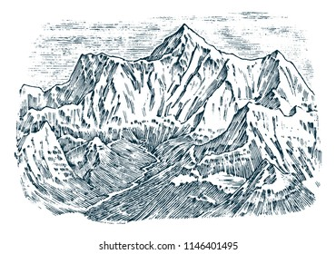 Mountains peaks, vintage Everest, old looking hand drawn, sketch or engraved style, different versions for hiking, climbing. landscape of nature. valley with green trees. vector illustration.