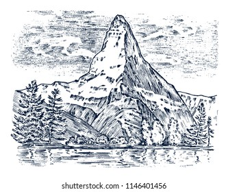 Mountains peaks, vintage matterhorn, old looking hand drawn, sketch or engraved style, different versions for hiking, climbing. landscape of nature. valley with green trees. vector illustration.
