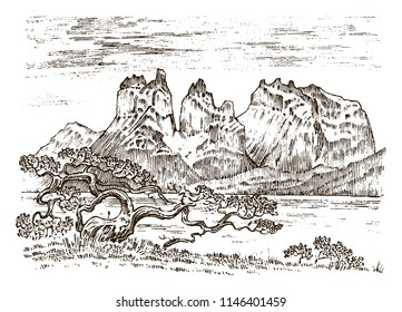 Mountains peaks, vintage Patagonia, old looking hand drawn, sketch or engraved style, different versions for hiking, climbing. landscape of nature. valley with green trees. vector illustration.