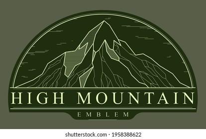 Mountains range linear vector emblem on dark, line art drawing of mountain peaks wilderness wanderlust logo, beautiful nature landscape.