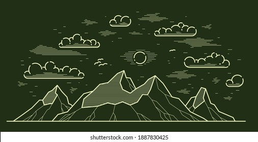 Mountains range linear vector illustration on dark, line art drawing of mountain peaks wilderness wanderlust theme, beautiful nature landscape.