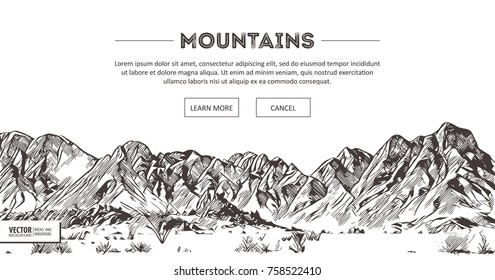 Mountains ranges. Nature sketch. Spiky mountain landscape sketch hand drawing, in engraving etching style, for extreme climbing sport, adventure travel and tourism design. Vector panorama