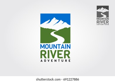 Mountains river adventure. Nature Logo Template.