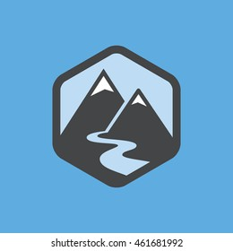 Mountains and river icon.