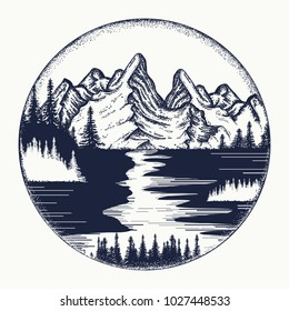 Mountains and river landscape tattoo. Symbol tourism, travel, adventure