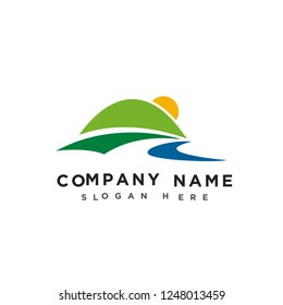 Mountains and river logo, mountains hill landscape logo, farm land icon, logotype vector template