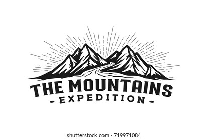 Mountains with river logo template