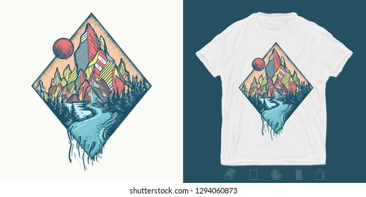 Mountains and river. Print for t-shirts and another, trendy apparel design. Outdoors concept. Meditation symbols, travel, tourism