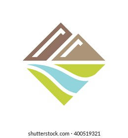 Mountains and river. Vector icon.