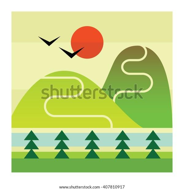mountains river vector icon stock vector royalty free 407810917 shutterstock