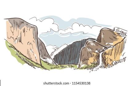 mountains rock view vector sketch landscape line illustration skyline
