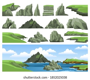 Mountains, rocks, cliffs, stones and blue sky with clouds. Set of sea landscape elements. Colorful panoramic irish scenery. Ocean scenic view. Flat vector illustration.