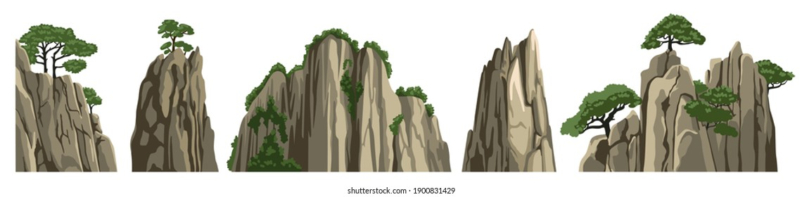 Mountains, rocks, hills, stones. Vector elements of asian chinese landscape, isolated on white background. Cartoon illustration.