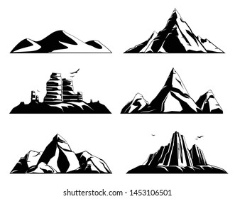 Mountains rocks landscapes monochrome set of flat images with isolated views of landmarks stones and birds vector illustration
