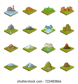 Mountains, rocks, lighthouse, volcano and other land reliefs. Mountains and landscapes set collection icons in cartoon style isometric vector symbol stock illustration web.