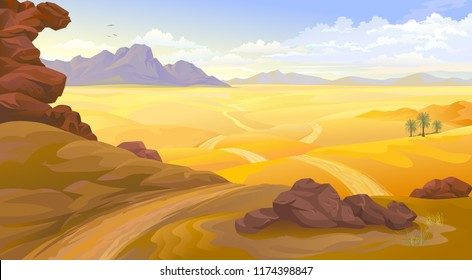 Mountains and rocks on a desert landscape. A road across the empty desert.