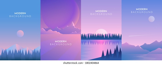 Mountains, Sea, Ocean, Rocks, Desert, Night, Day, Sunset, Abstract landscape set, Vector banners set with polygonal landscape illustration, Minimalist style, Flat design