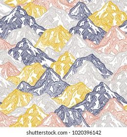 Mountains seamless pattern. Fun mountains kid wallpaper. Vector illustration