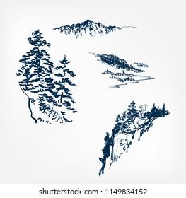 mountains set design elements vector sketch illustration japanese chinese oriental line art design elements