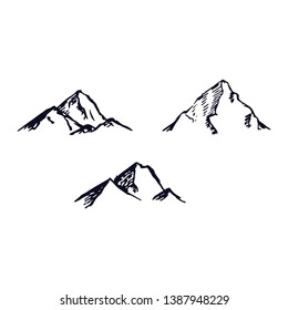 Mountains set. Hand drawn rocky peaks. Vector illustration - Vector illustration