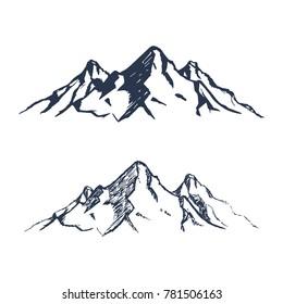 Gebirgszug. Handgezeichnete Felsspitzen. Vektorgrafik